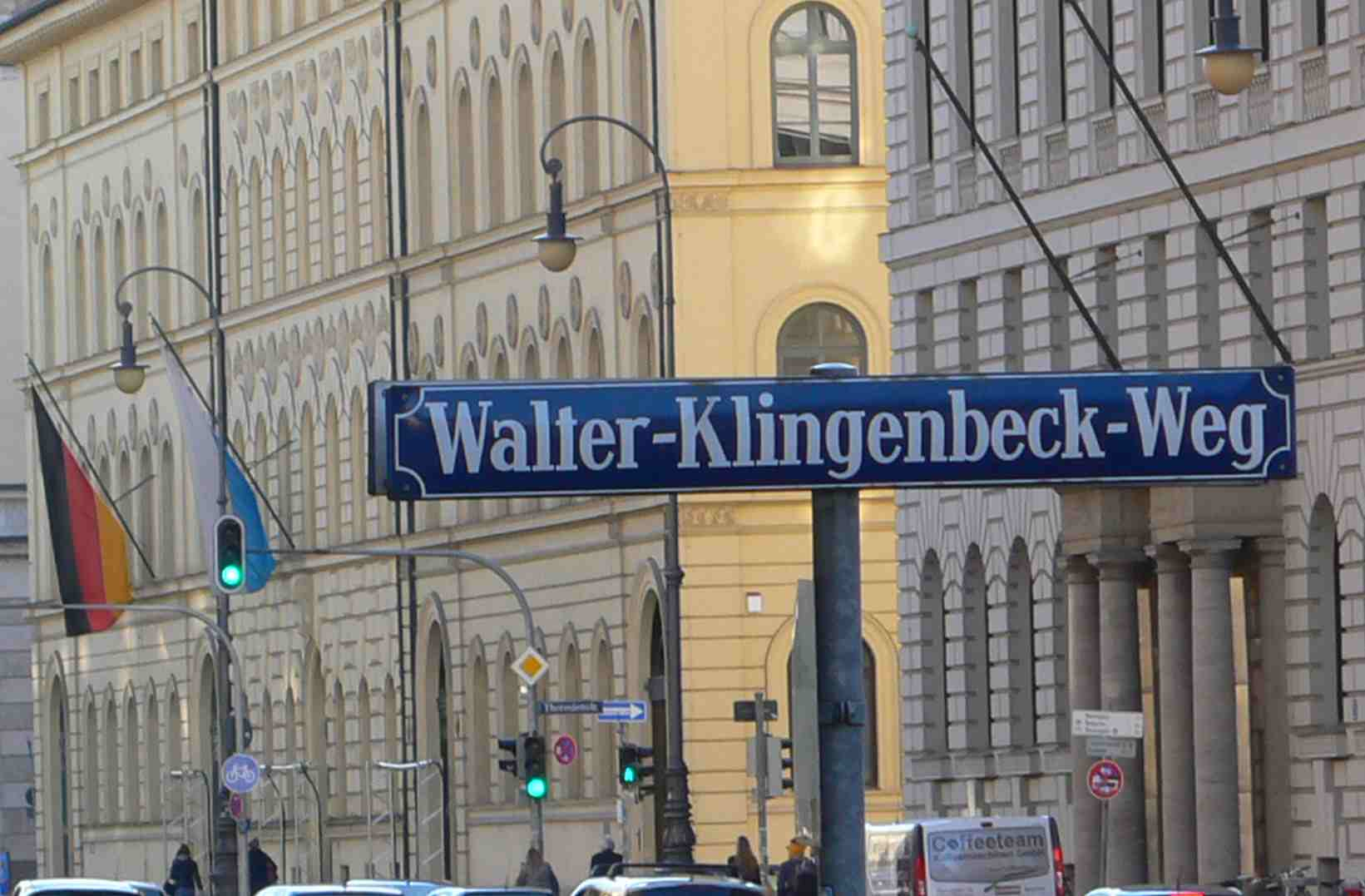 a Munich alley named after Walter Klingenbeck who served in German Resistance against the Nazis